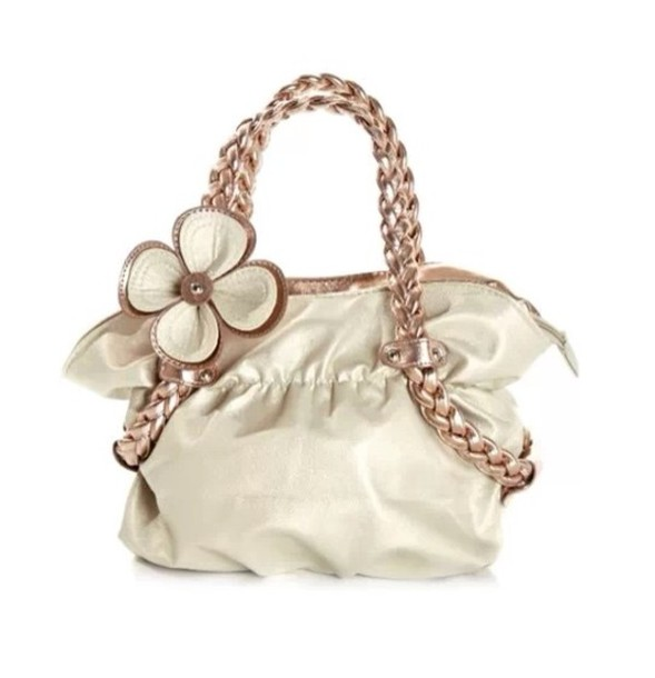 bag brown flowers white