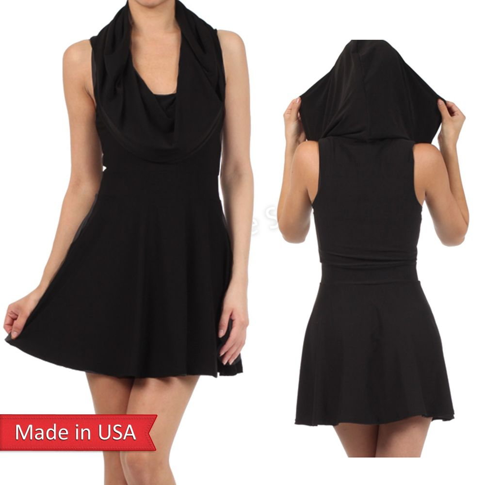 New Women Sexy Sleeveless Tank Cowl Neck Hooded Solid Color Black Mini Dress USA