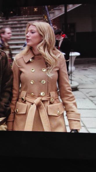 coat beige coat gossip girl long coat