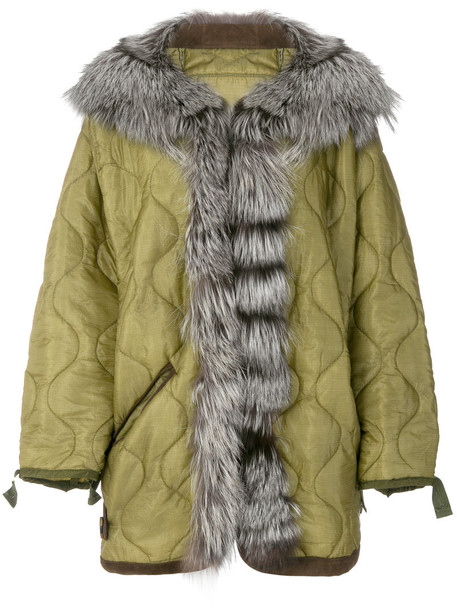 Liska jacket fur fox women quilted green
