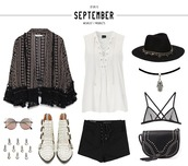 mexiquer,blogger,mesh bra,lace up,outfit,boho,ankle boots,black hat,white top,black shorts,kimono,marble,lace up top