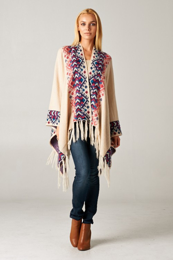 fringes fringed top poncho fall outfits fall sweater fall jacket top blouse sweater cardigan boho boho chic tribal pattern tribal cardigan aztec aztec sweater