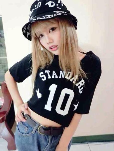hat kawaii dark kawaii grunge black white shorts t-shirt shirt grunge bucket  hat japanese 5d526e94da4