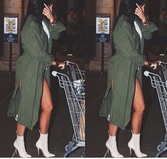 coat olive green kylie jenner