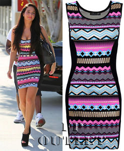 Ladies Womens Celebrity Look Jade Golden Aztec Stretch Mini Bodycon Party Dress | eBay