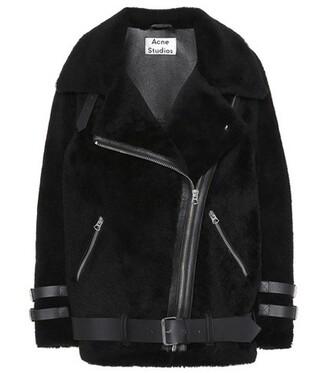 jacket shearling jacket leather black