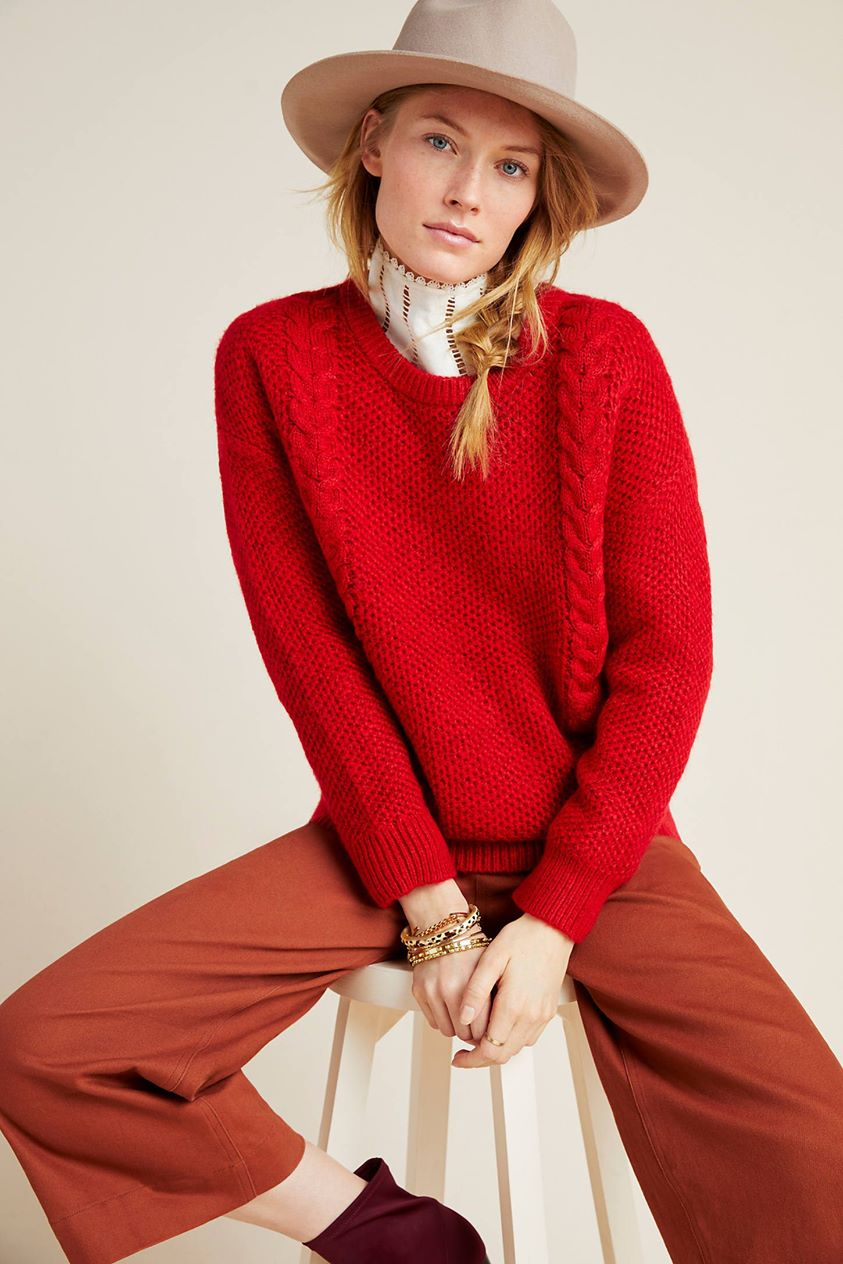 Allyson Cable-Knit Sweater by Another Love in Red