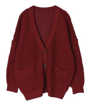 AnnaKastle Women's Chunky Waffle Knit Boyfriend Cardigan Sweater size M-L in Burgundy