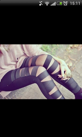 black style pants leggings ripped stripes