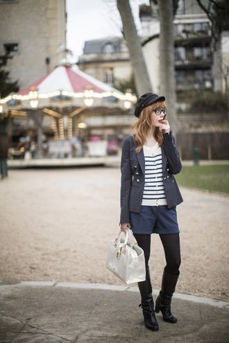 miss pandora blogger fisherman cap striped sweater blazer shorts sailor top jacket shoes bag
