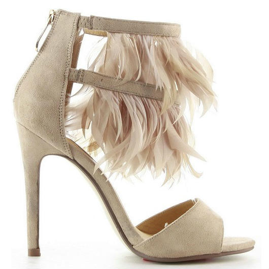 Diany Nude Suede Open toe Heels with Feathers