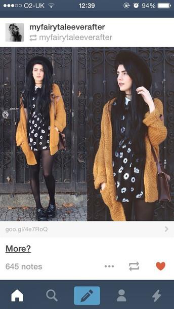 cardigan mustard yellow knit knitwear cozy dress