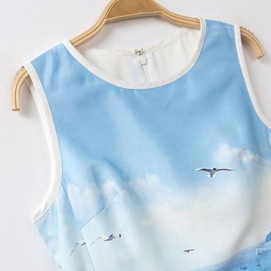 Women dresses fashion sleeveless landscape printing clothing TL-XQQ0708LYQFJ-Lovelyshoes.net