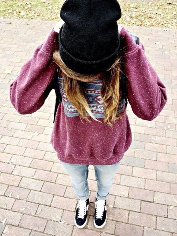 sweater jeans shoes hat t-shirt pullover clothes skater tribal pattern burgundy cute long blue sweatshirt jumper baggy red dark red burgundy burgundy sweater aztec aztec sweater white purple fall outfits girl hair black old cool outside hipster vintage old school grunge this trainers beenie ootd ombre