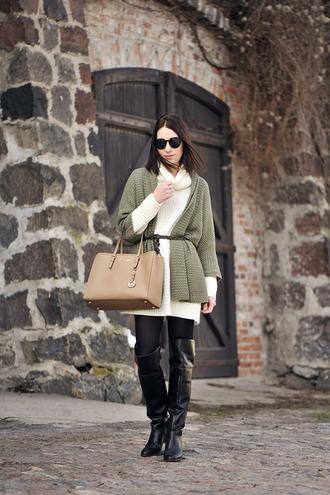 shiny sil blogger sweater dress knitted cardigan michael kors bag black boots