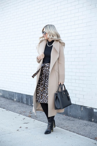 coat tumblr camel camel coat camel long coat long coat bag black bag top black top necklace skirt midi skirt leopard print animal print tights opaque tights boots black boots ankle boots high heels boots sunglasses