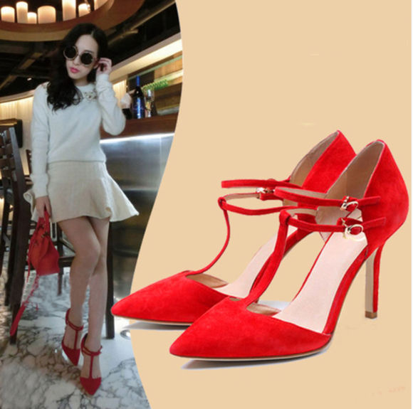 shoes wedding high heels red yellow t strap