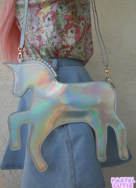 """the silver lining"" holo unicorn bag – glamzelle"