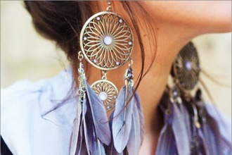 earrings feathers dreamcatcher romantic blue jewels grey jewels hippie jewels pink earrings light pink