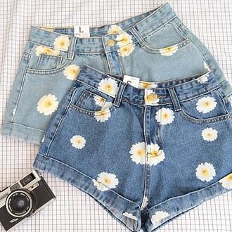 shorts denim daisy blue jeans trendy cool summer spring girly boogzel