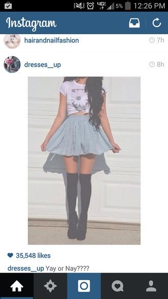 skirt long black socks heels cute cropped t-shirt underwear shirt shoes