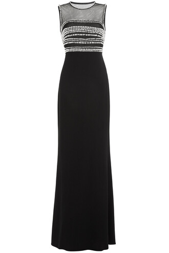 gown embellished black dress