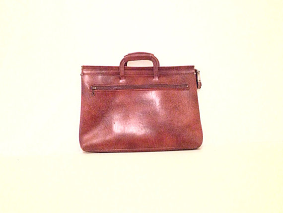 Faux leather portfolio bag  cognac brown by americanprospecting