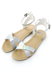 shoes,silver,holographic,cross,straps,sandals,silver flat sandals