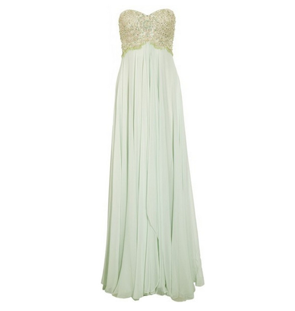 dress mint gold prom dress beading sweetheart neckline