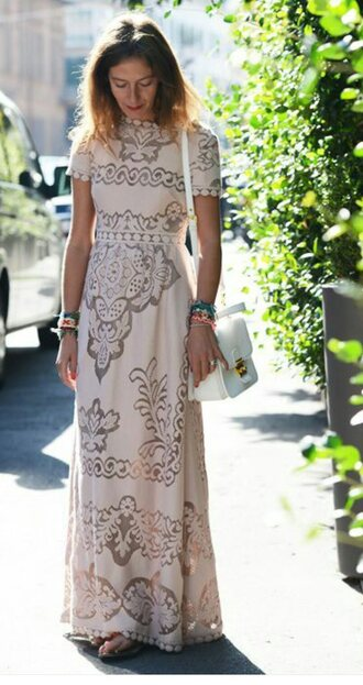 dress cream dress white dress cream maxi white maxi short sleeve short sleeve maxi pattern boho style boho dress moroccan circle embroidered embroidery
