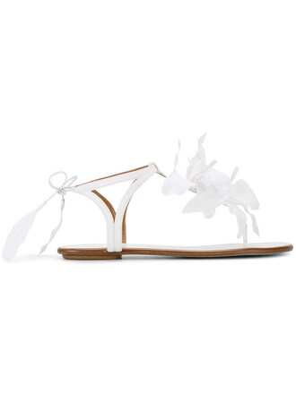 women sandals flat sandals floral leather white silk satin shoes