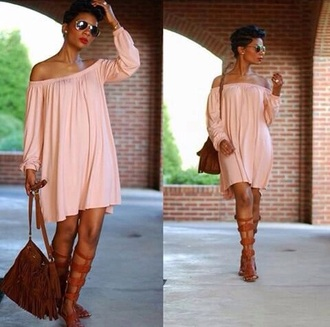 dress salmon off the shoulder dress summer outfits