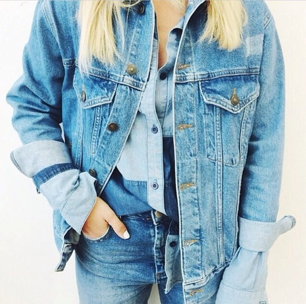 jacket denim jacket jeans blouse