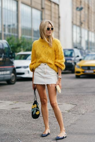 sweater skirt copenhagen fashion week streetstyle yellow yellow sweater mini skirt white skirt denim denim skirt shoes flats pointed flats slingbacks bag sunglasses
