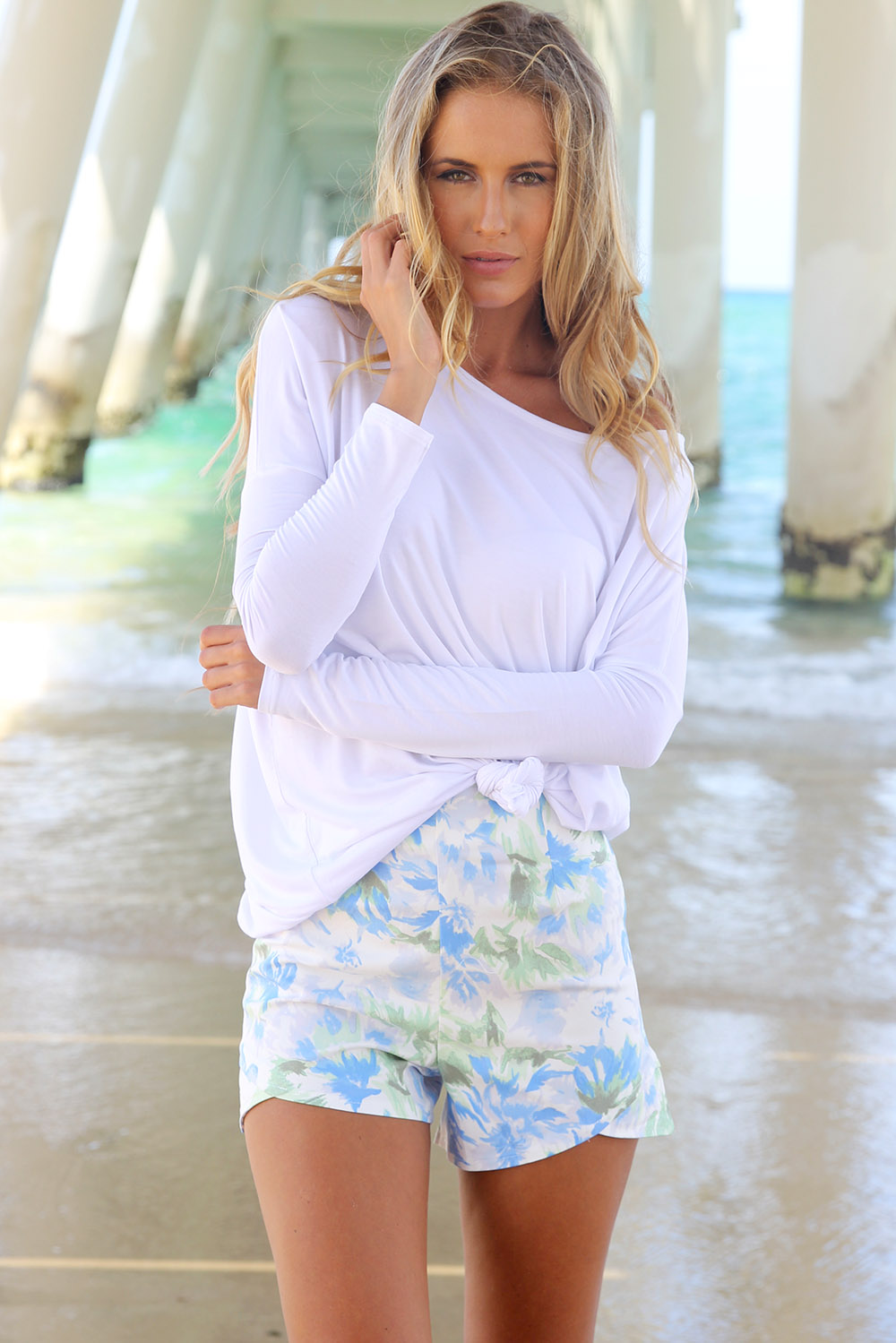 Blue Shorts - Blue Floral Print Shorts with | UsTrendy