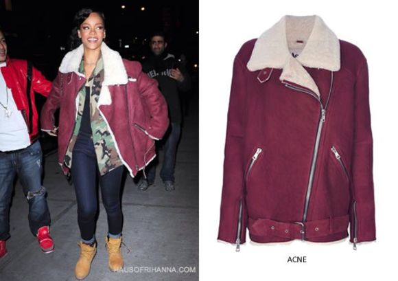 jacket rihanna burgundy sherpa lined fall outfits acne coat