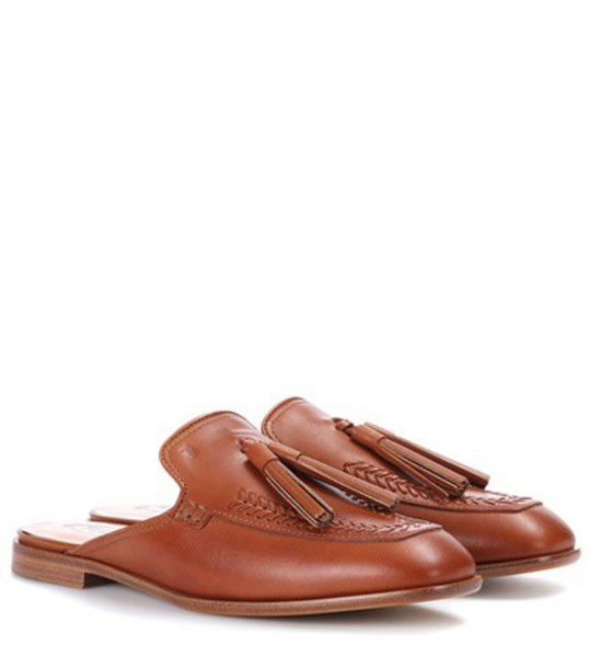 TOD'S mules leather brown shoes