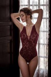 underwear,bodysuit,red bodysuit,red underwear,lingerie,red lingerie,burgundy,burgundy underwear,burgundy lingerie,burgundy bodysuit,red