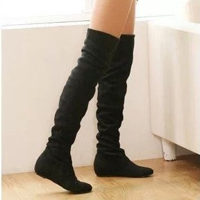Women boots 2014 winter spring ladies fashion flat bottom boots shoes over the knee high leg suede long boots brand designer-inBoots from Shoes on Aliexpress.com