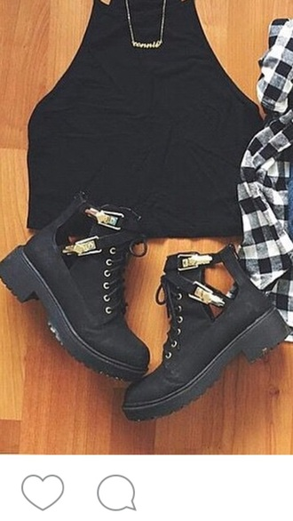 shoes black boots buckles gold