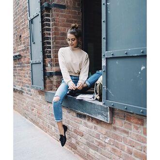 sweater beige sweater cropped sweater