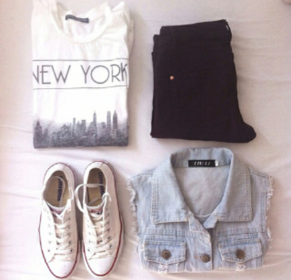 jacket denim shirt black shorts denim vest t-shirt new york white tank top new york city nyc graphic tee black and white big apple graphic t-shirt