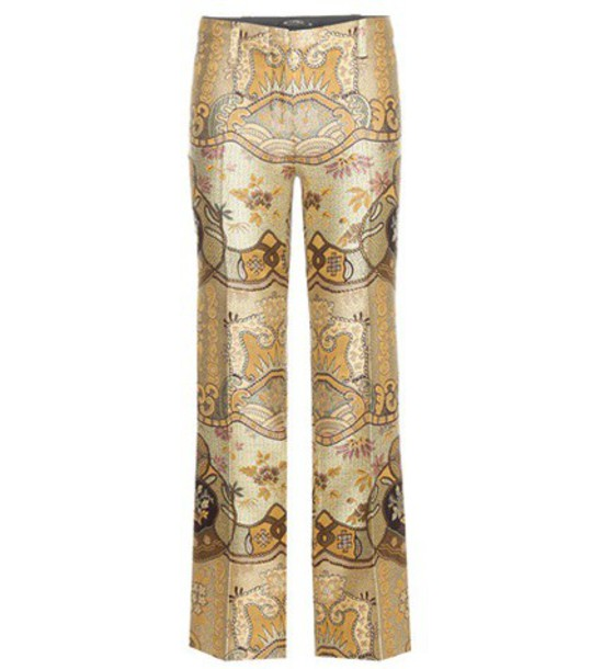 Etro Jacquard Trousers in gold