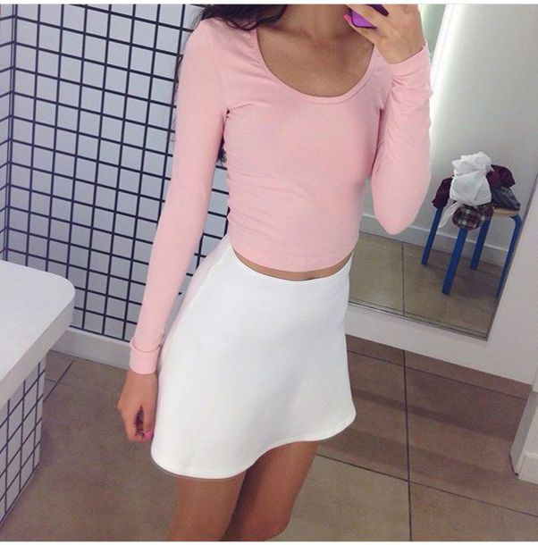 pink, long sleeves, crop tops, tumblr, tumblr outfit, tumblr girl ...
