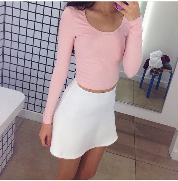 Pink Long Sleeves Crop Tops Tumblr Tumblr Outfit