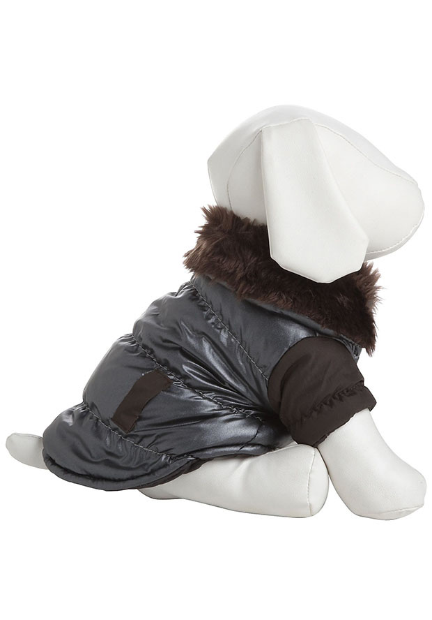 Pet Life 7BRXS More,Brown Ultra Fur Collar Metallic Jacket, Pets Pet Life Fashion More