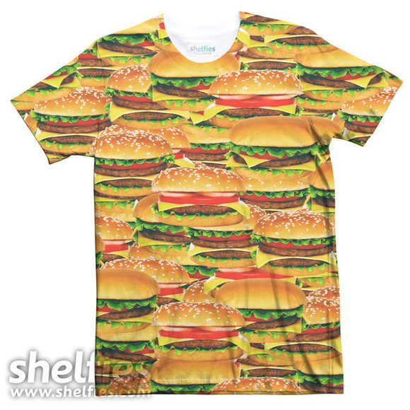 hamburger food shelfies t–shirt