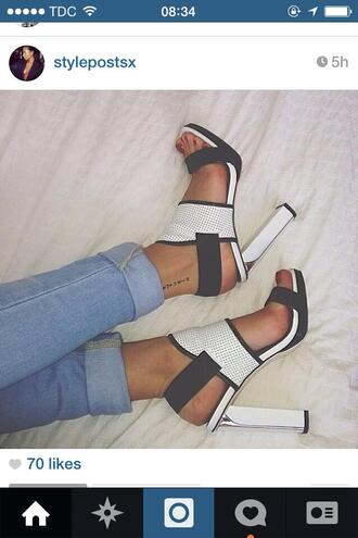 shoes high heels white and black white high heel sandals open heels red red nail polish jeans jeans pants white heels
