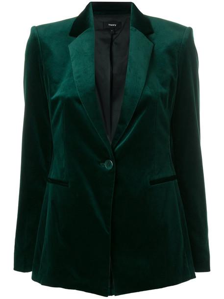 theory blazer women classic spandex cotton green jacket