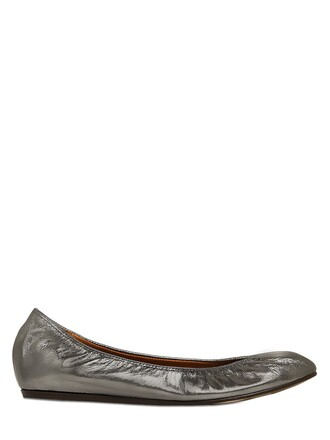 metallic flats leather shoes
